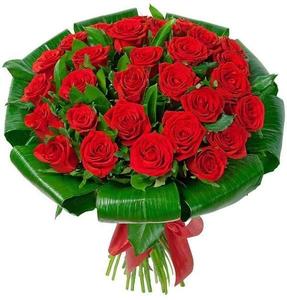 Розы с аспидистрой