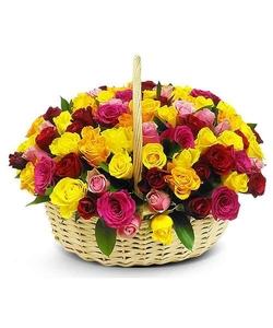 45 разноцветных роз